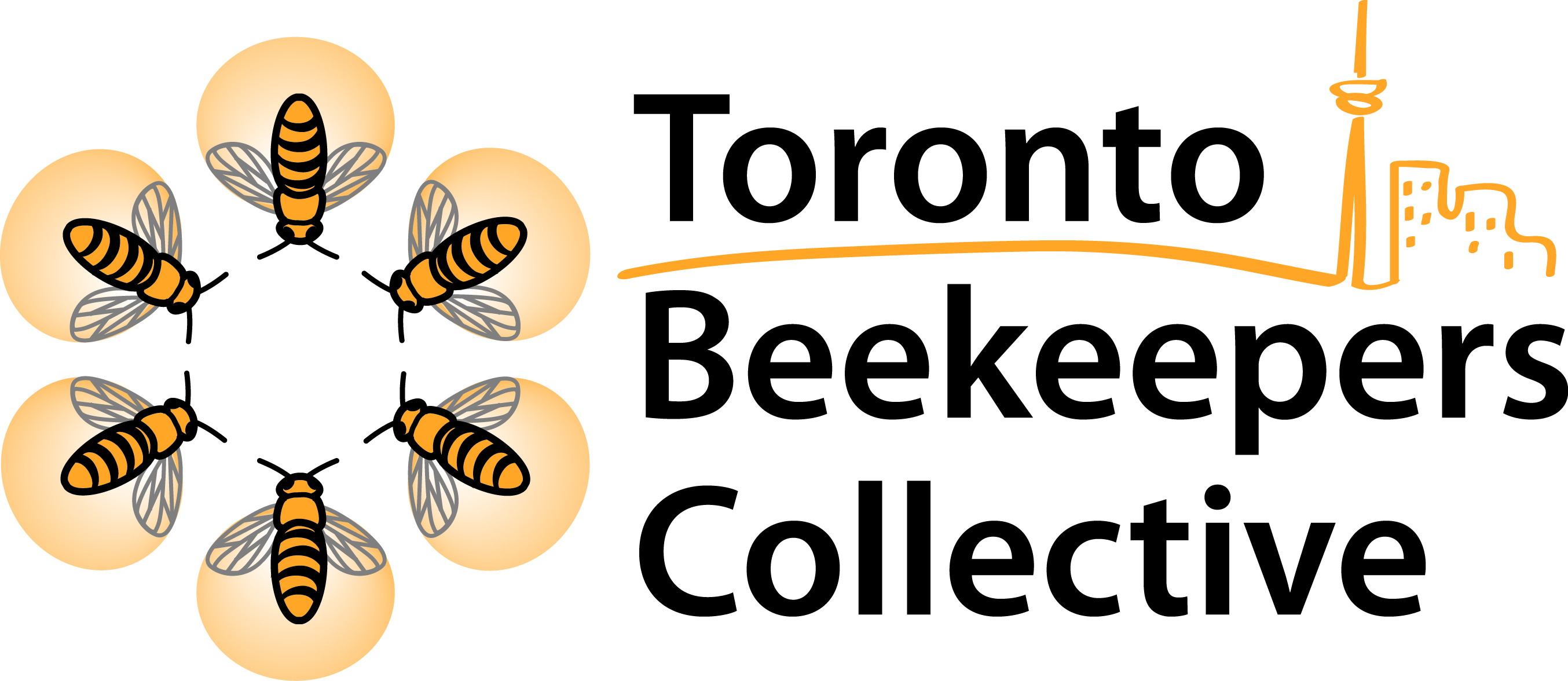 Toronto Beekeepers Collective Logo (Six bees facing each other in a hexagon, with a stylized Toronto cityscape next to them).